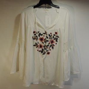 Stevie Hender Size Large Embroidered Flowers Bell